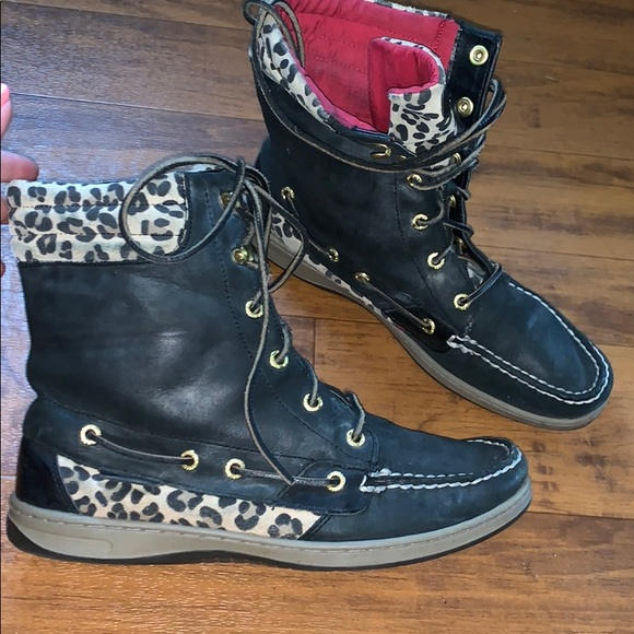 Sperry Shoes   Lace Up Boots Cheetah